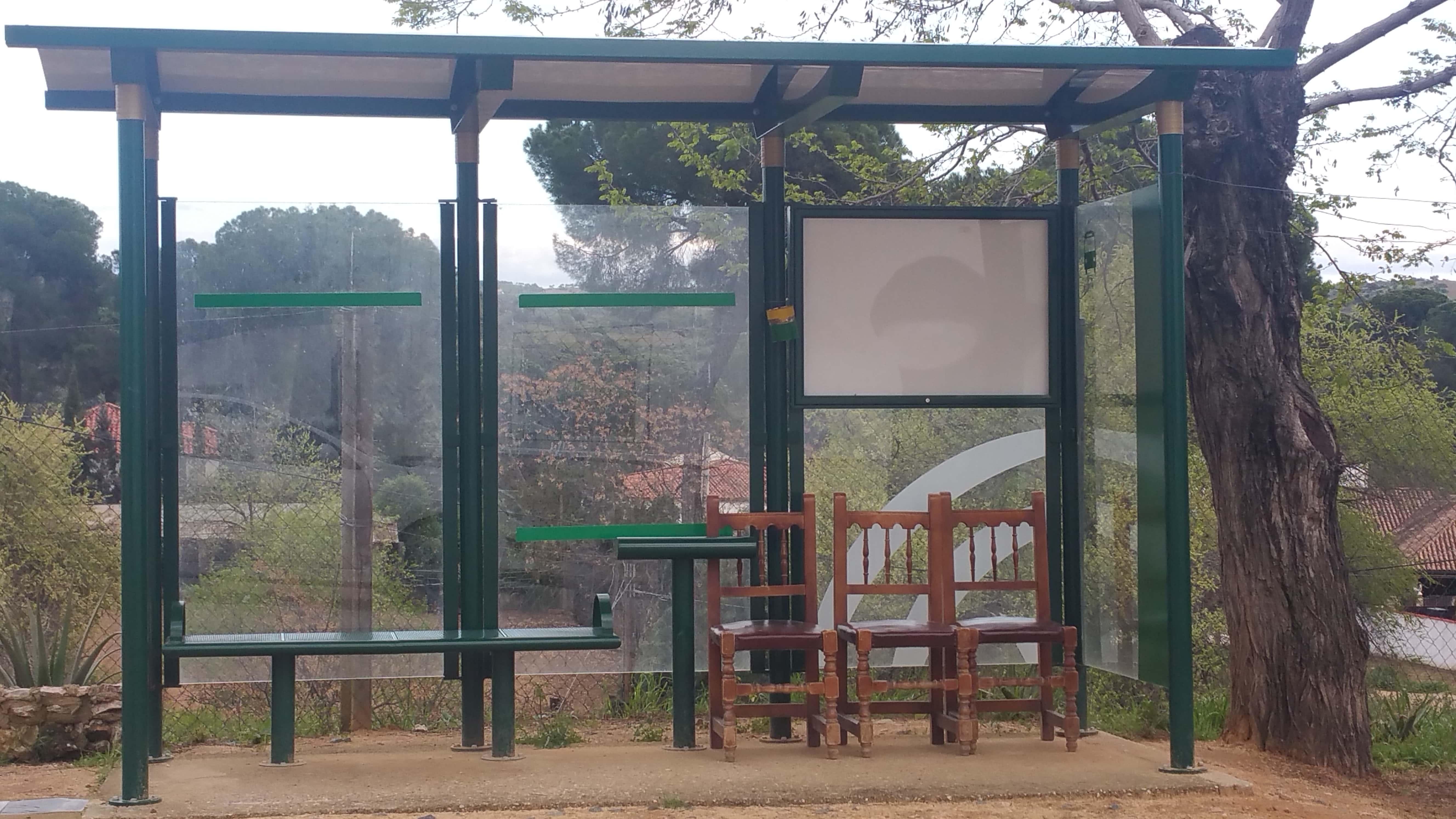Detalle de la parada del autobús